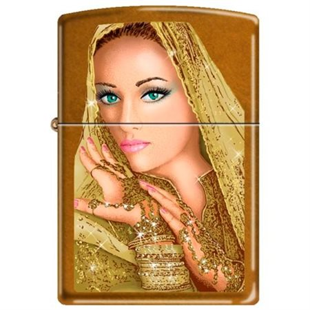 Zippo Exotic Woman Bride Princes With Golden Veil Toffee Lighter NEW Rare (New Toffee)