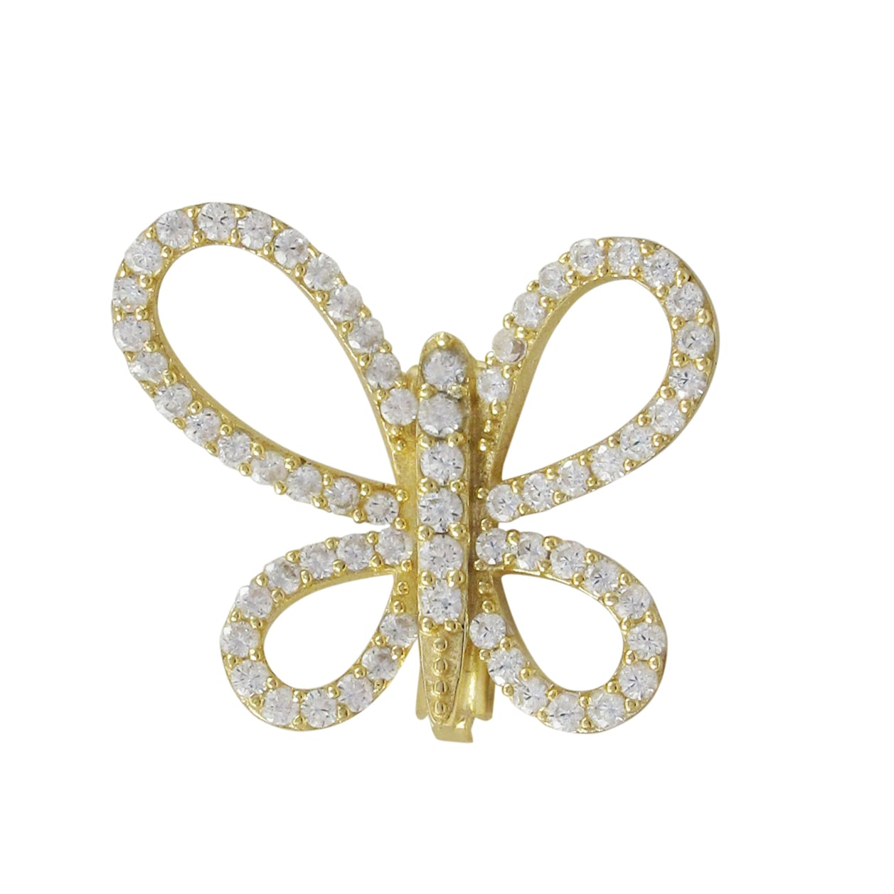 Luxiro Gold Finish Sterling Silver Cubic Zirconia Butterfly Pin Brooch by Overstock