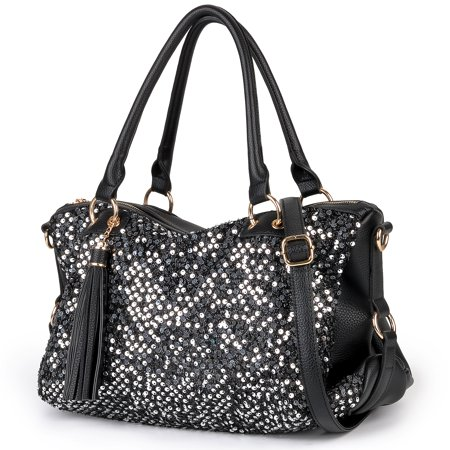 Womens Handbags, Fashion Punk Style Shining Sequin Faux Leather Tote Bag Hobo Bag for Girls Women Ladies (Black) (Shoulder Purses For Teens)