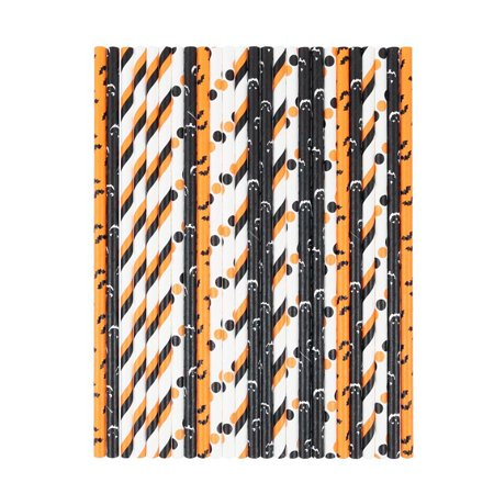 Halloween Paper Straws (Fancyleo 25/50/75/100 Pcs Halloween Disposable Drink Paper Straws Biodegradable)