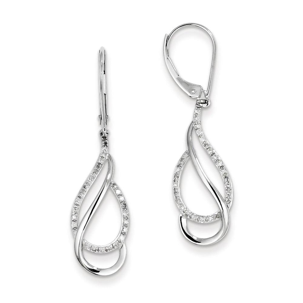 Sterling Silver 1/5ct. Diamond Earrings. Carat Wt- 0.2ct (1.5IN x 0.3IN )