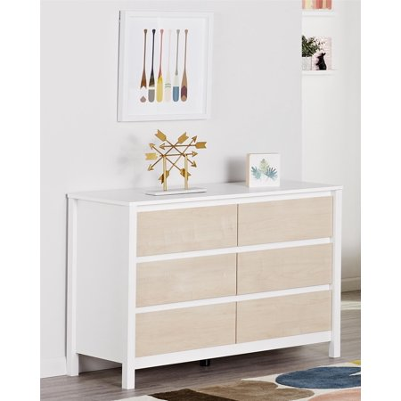 Novogratz Addison 6 Drawer Dresser Natural And White