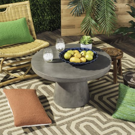 Safavieh Delfia Outdoor Modern Concrete Round Coffee Table - Dark Grey Cedar Outdoor Coffee Table
