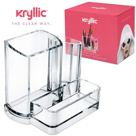 Acrylic Bathroom Office Accessories Holder - Clear 3 compartment vanity cosmetic storage organizer for toothbrushes jewelry makeup brush lipstick pens pencils scissors & business card desk supplies! ()
