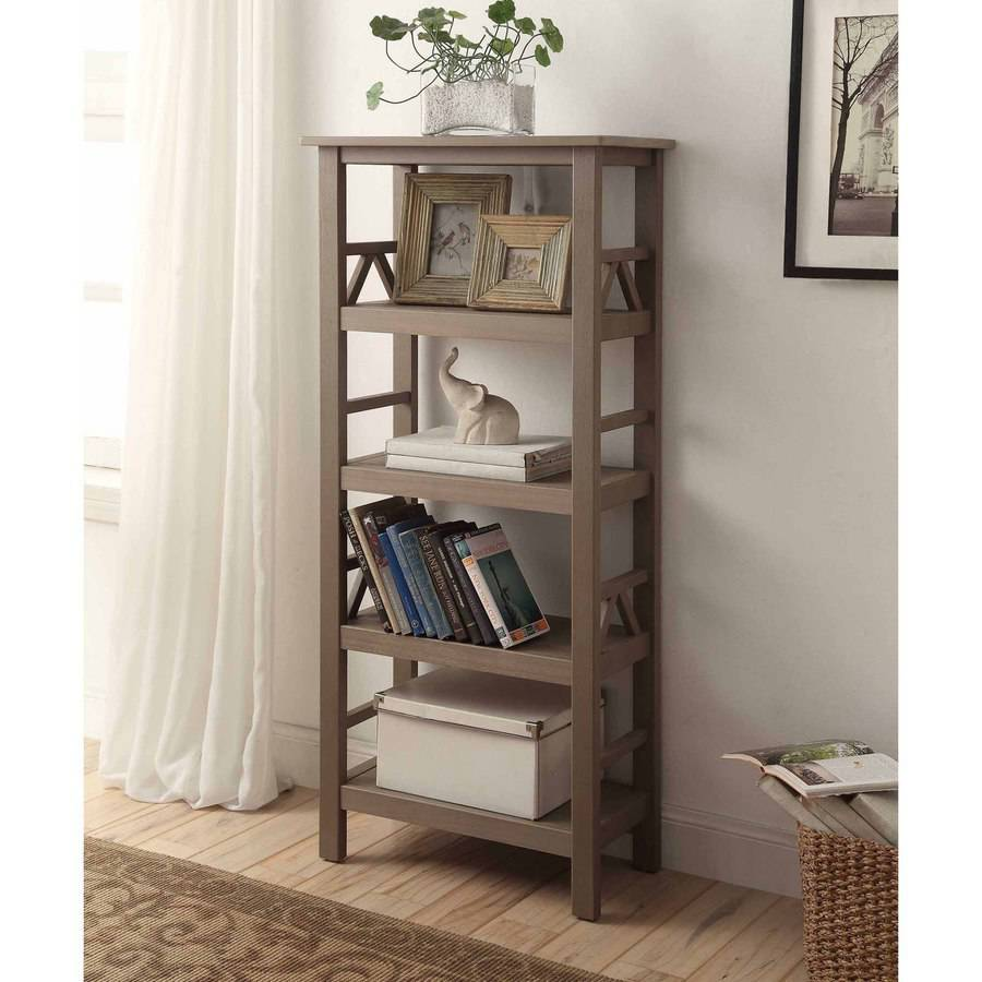 Linon Titian Bookcase, Rustic Grey, 54 inches Tall