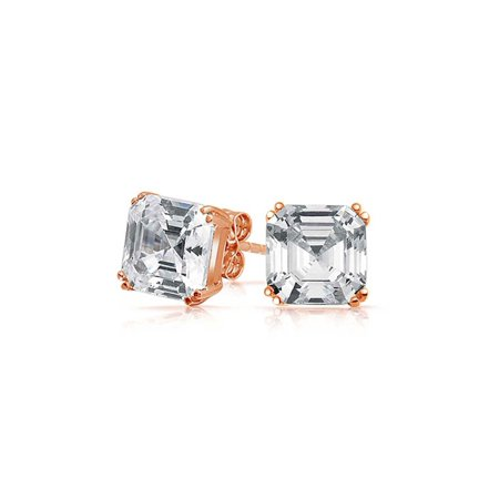 99b0f1a889645 .75CT Cubic Zirconia Solitaire Square AAA CZ Asscher Cut Stud Earrings For  Women Rose Gold Plated 925 Sterling Silver