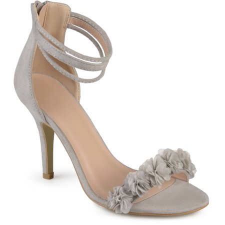 Brinley Co. Women's Faux Suede Flower Ankle Strap High Heels