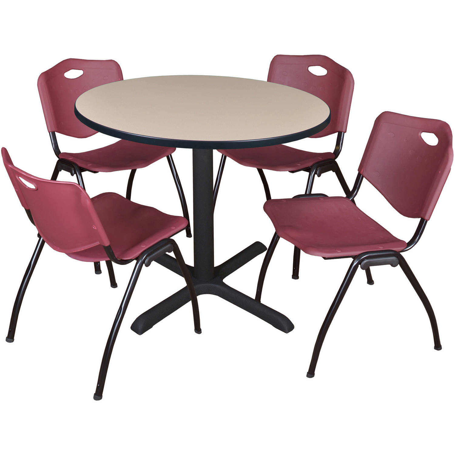 "Cain 36"" Beige Round Breakroom Table and 4 'M' Stack Chairs, Multiple Colors"