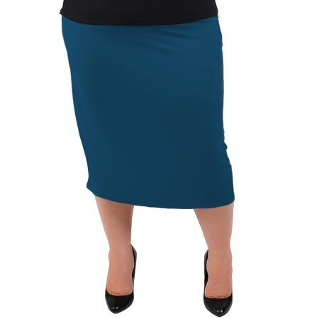 Plus Size Comfortable Soft Stretch MIDI Skirt - X-Large (12-14) / Teal](Plus Size Tulle Skirt)