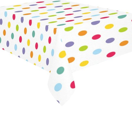 MYPOP Colorful Polka Dot Cotton Linen Tablecloth 60x84 Inches, Green Blue Red Table Cloth Cover for Holiday Party Decoration](Polka Dot Tablecloths)
