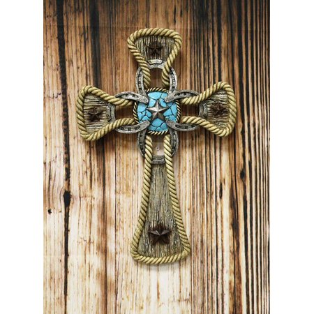 Ebros Gift Rustic Western Stars Turquoise Gem Horseshoe Wall Cross Decor Plaque In Rope Embroidery Outline Finish Hanging Sculpture 12