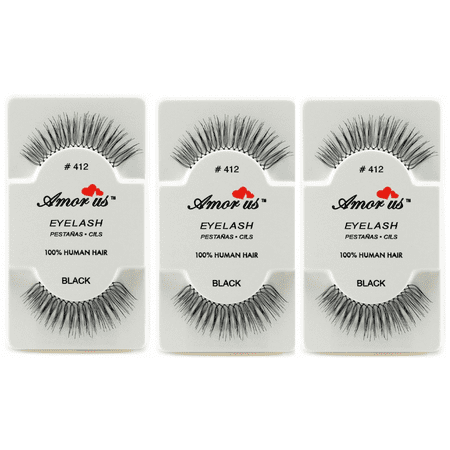 LWS LA Wholesale Store  3 Pairs AmorUs 100% Human Hair False Long Eyelashes # 412 compare Red Cherry - Longs Wholesale