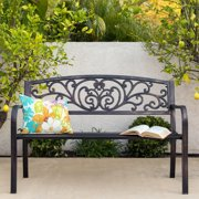 1928c12120c1 Best Choice Products 50in Steel Outdoor Park Bench Porch Chair Yard  Furniture w/ Floral Scroll