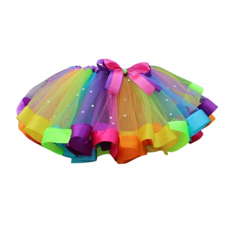 BOBORA Cute Kids Girls Layerd Rainbow Rufflle Ballet Dance Tutu Skirts
