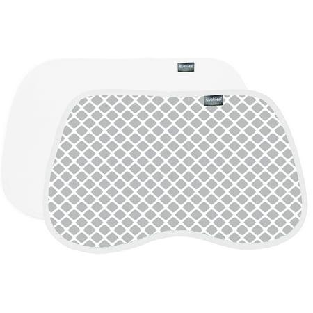 Kushies Burp Pads Flannel 2-Pack Lattice Grey / White ()