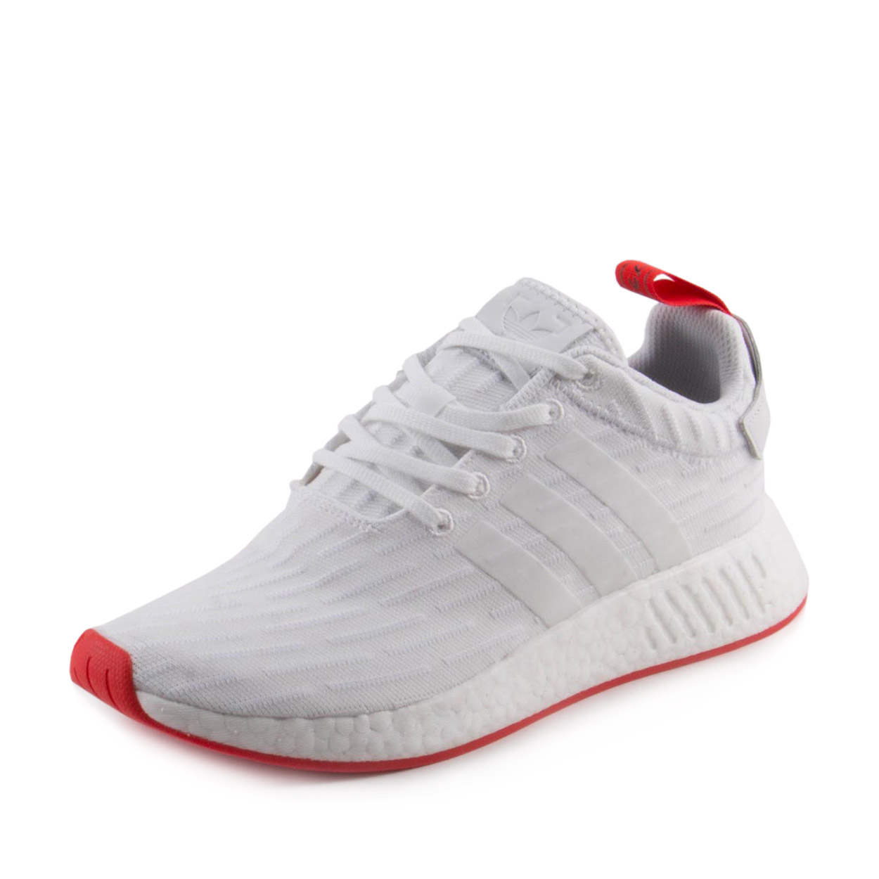 Adidas NMD_R2 Primeknit Men's Shoe White/Core Red ba7253 (8 D(M) US)