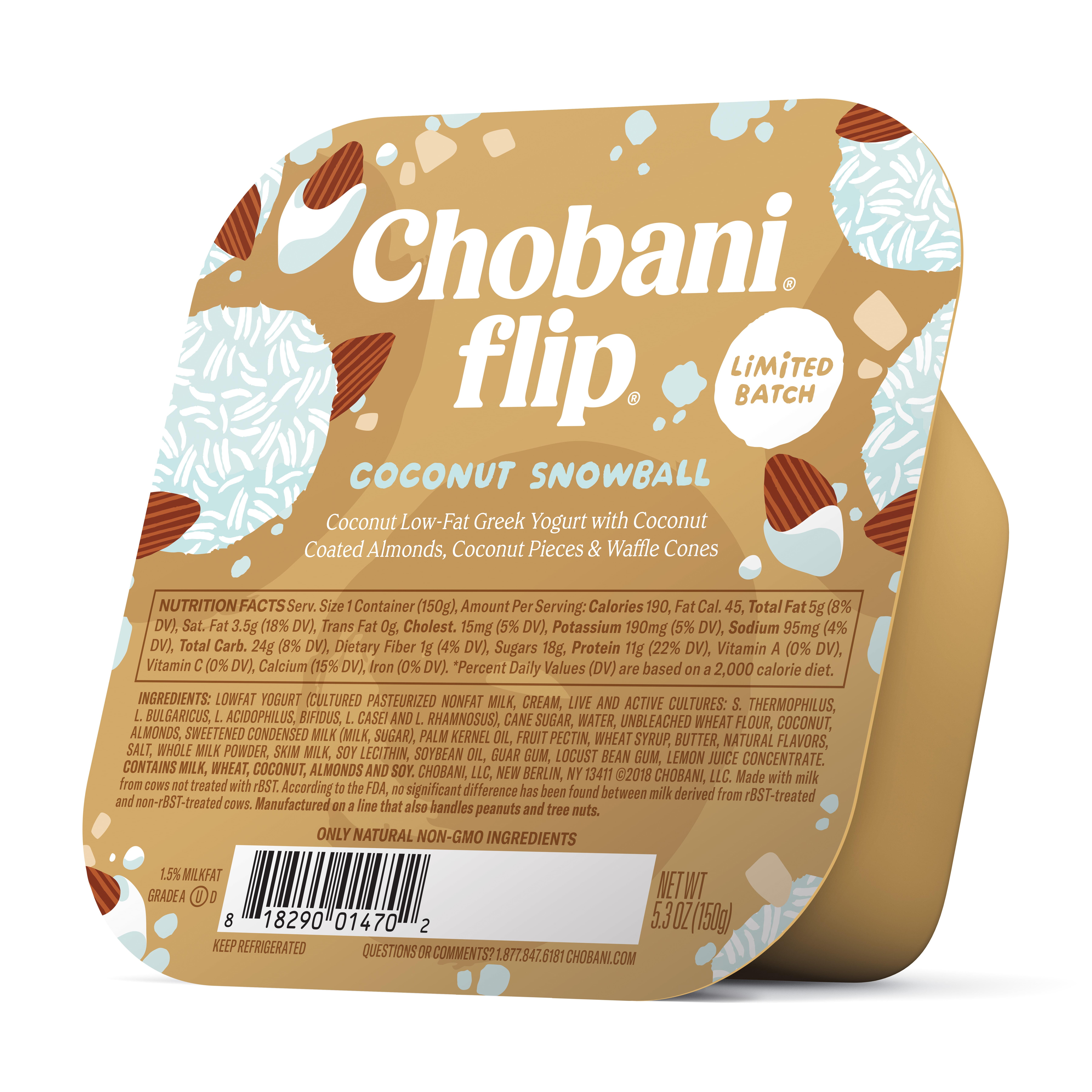 Chobani Flip, Limited Batch Coconut Snowball Low-Fat Greek Yogurt, 5.3 oz