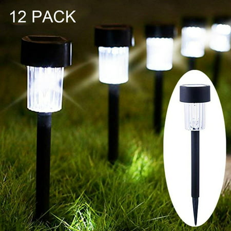 Solar Garden Lights Outdoor, Pathway Led Lighting Waterproof Solar Powered Stainless Steel 15 Lumens Bright for Path, Walkway, Patio and Landscape 12 Pack