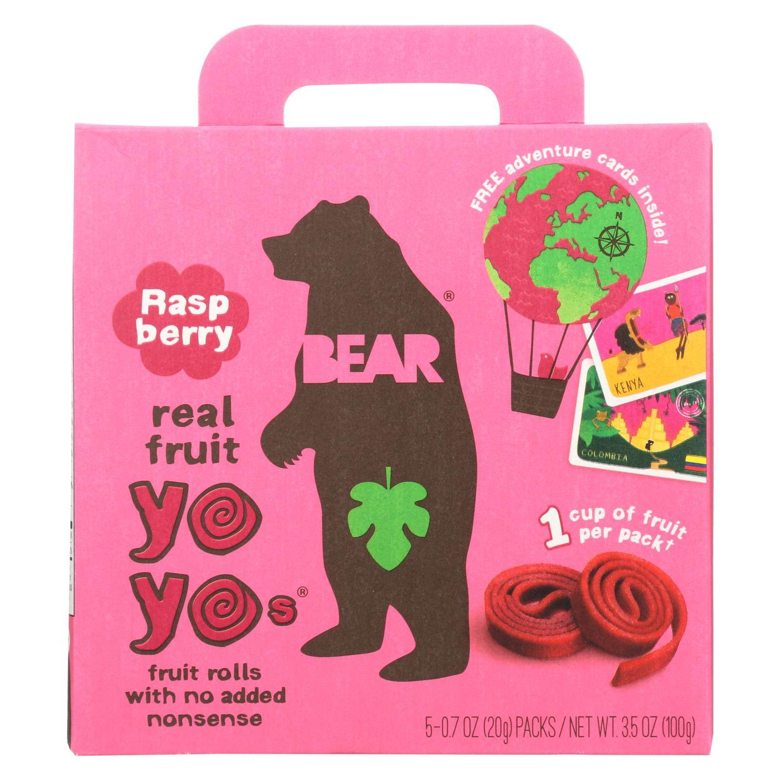 Bear Real Fruit Yoyo Snack - Raspberry - Case Of 6 - 3 5 Oz