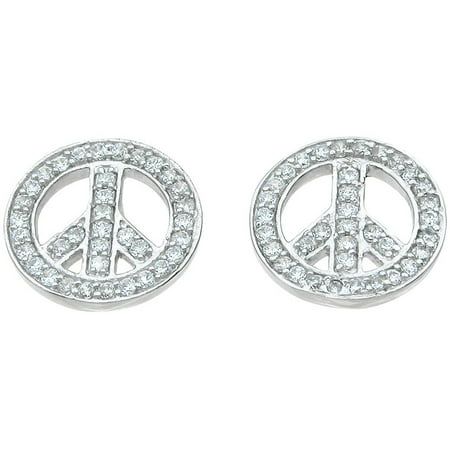 Plutus 1-1/3 Carat T.G.W. Round-Cut CZ Sterling Silver High-Polish Peace Sign (Sterling Peace Sign Earrings)