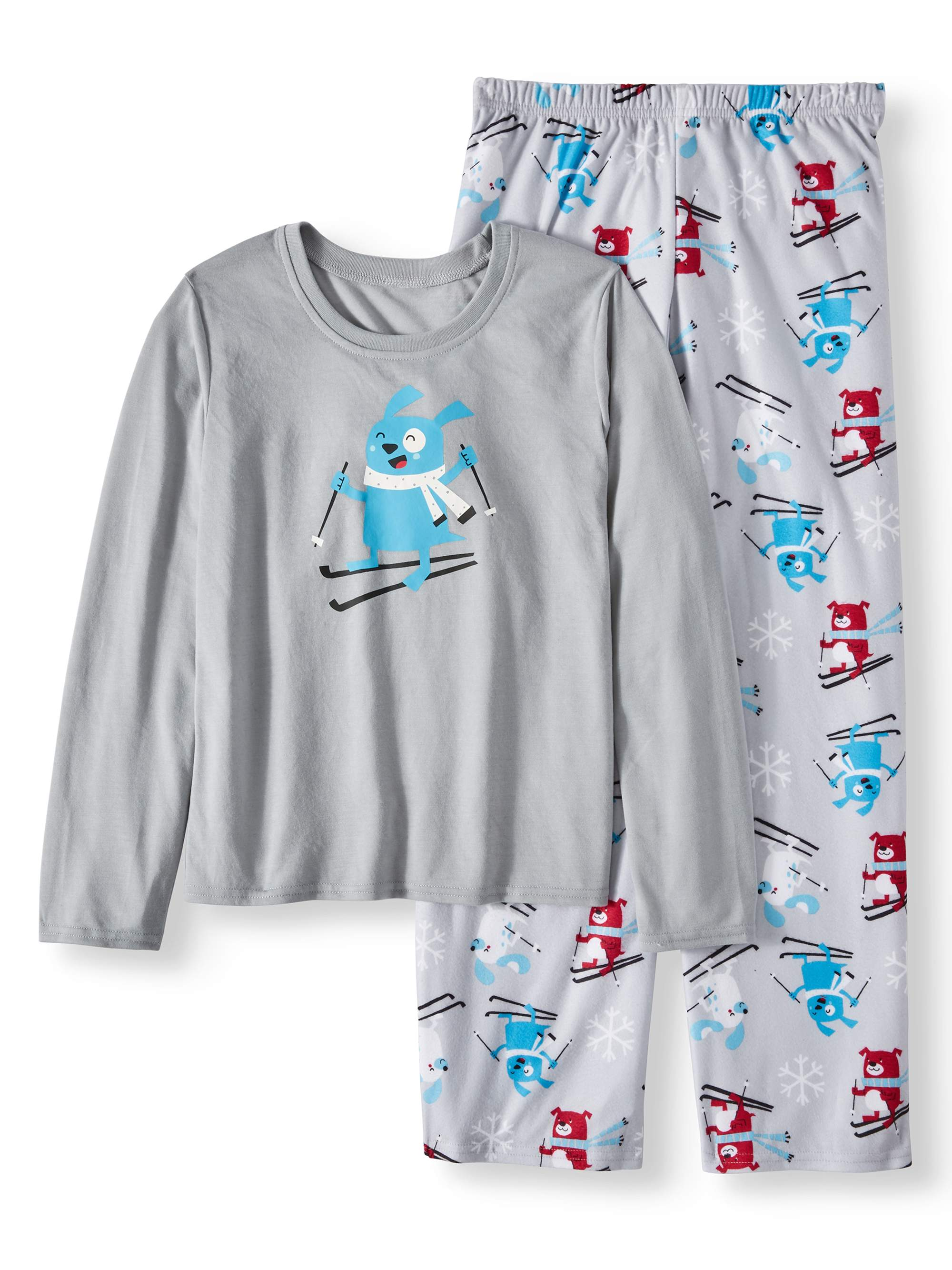 Family PJs Family Sleep Holiday Ski Dogs 2 Piece Pajama Sleep Set (Little Boys & Big Boys)