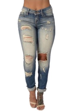 Woman's Middle Waist Washed Ripped Jeans Skinny Pants
