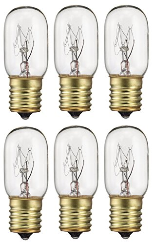 Clear Light Bulb Sterl Lighting Pack of 6 25T8 25W Incandescent Salt Lamp /& Appliance T8 Bulb with Candelabra Base