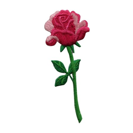 ID 6177 Red Pink Rose Flower Patch Love Gift Present Embroidered IronOn Applique