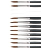 Dynasty 5800 Round Camel Hair Short Enameled Wood Handle Watercolor Paint Brush, Size 8, 7/8 in Hair, Black, Pack of 12