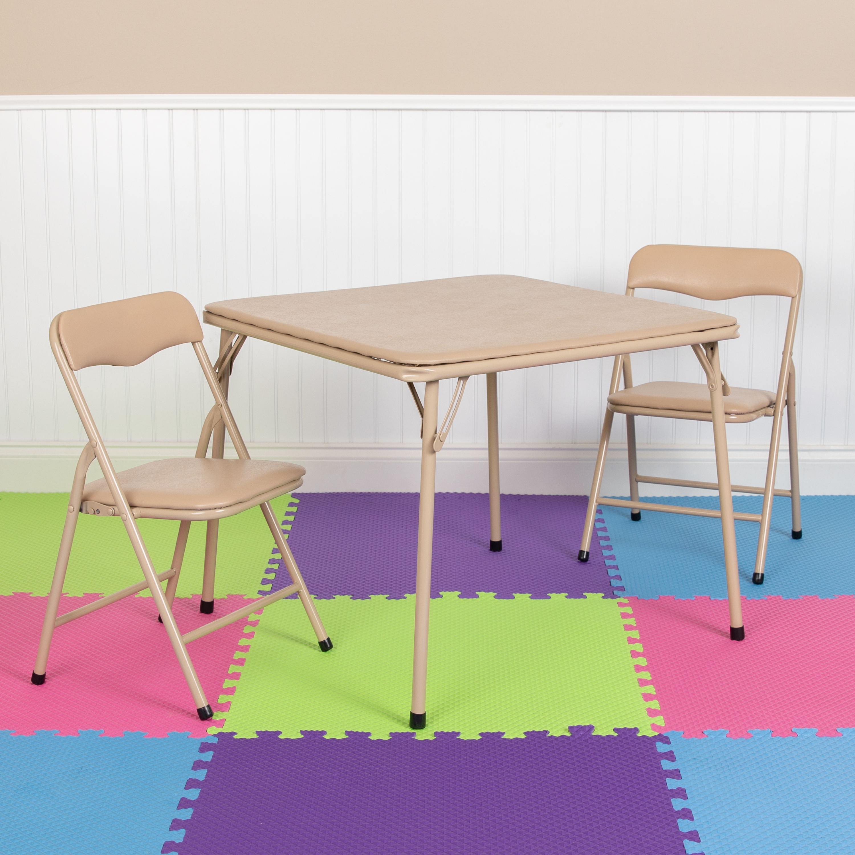 Flash Furniture Kids Tan 3 Piece Folding Table And Chair