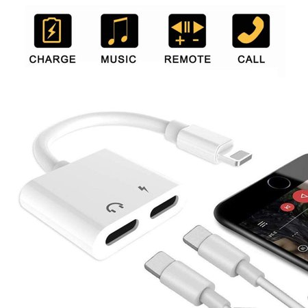 Adapter for iPhone X Headphone 2 in 1 iPhone Audio Adaptor Support Audio+Charging+Call+Volume Control Audio Splitte and Charging Adaptor for iPhone XS/MAX/XR/X/8/8Plus/7/7Plus Compatible iOS (Best Audio For Iphone)