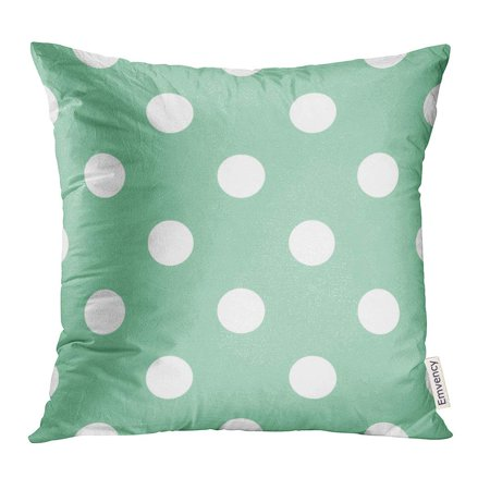 ARHOME Blue Christmas with Huge White Polka Dots on Retro Vintage Mint Green Wedding Albums Arts and Scrapbooks Pillow Case 18x18 Inches - Vintage Retro Mint