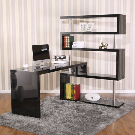HomCom Rotating Home Office Corner Desk And Shelf Combo Black