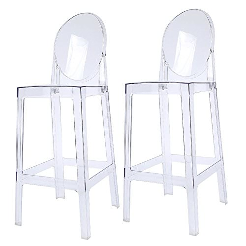 "2xhome Set of 2 30"" Seat Height Clear Transparent Contemporary Modern Glam Barstool Modern Ghost Chair Ghost Stool Side Chairs Molded Plastic Bar Stool Counter Accent Lounge No Arms Kitchen With Back"