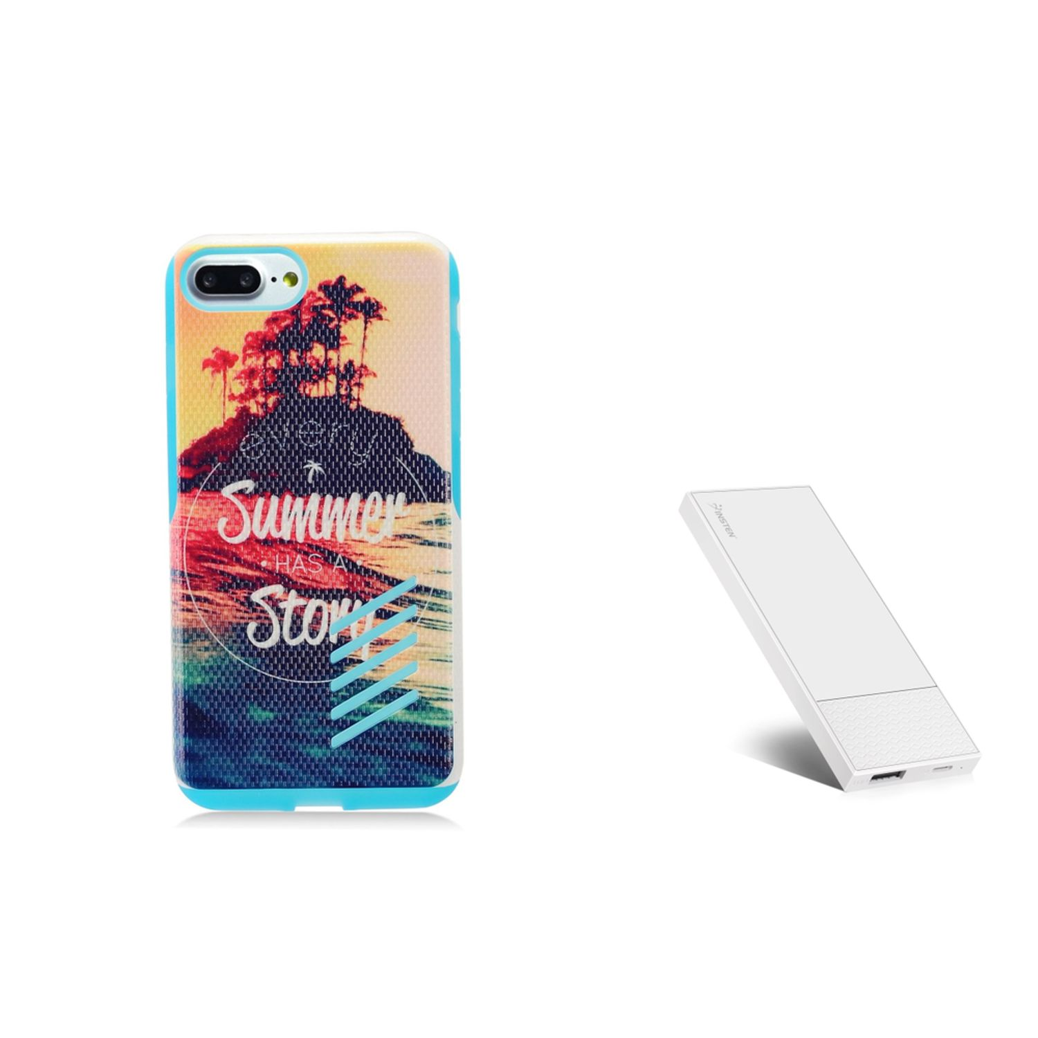 Insten Summer Story Hard Hybrid TPU Cover Case for Apple iPhone 8 Plus / iPhone 7 Plus- Colorful (+ Ultra Thin 4000mah Portable Charger) (2-in-1 Accessory Bundle)