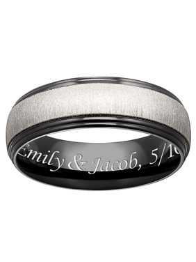 Personalized Men's Black Titanium Two-Tone Beveled Engraved Band