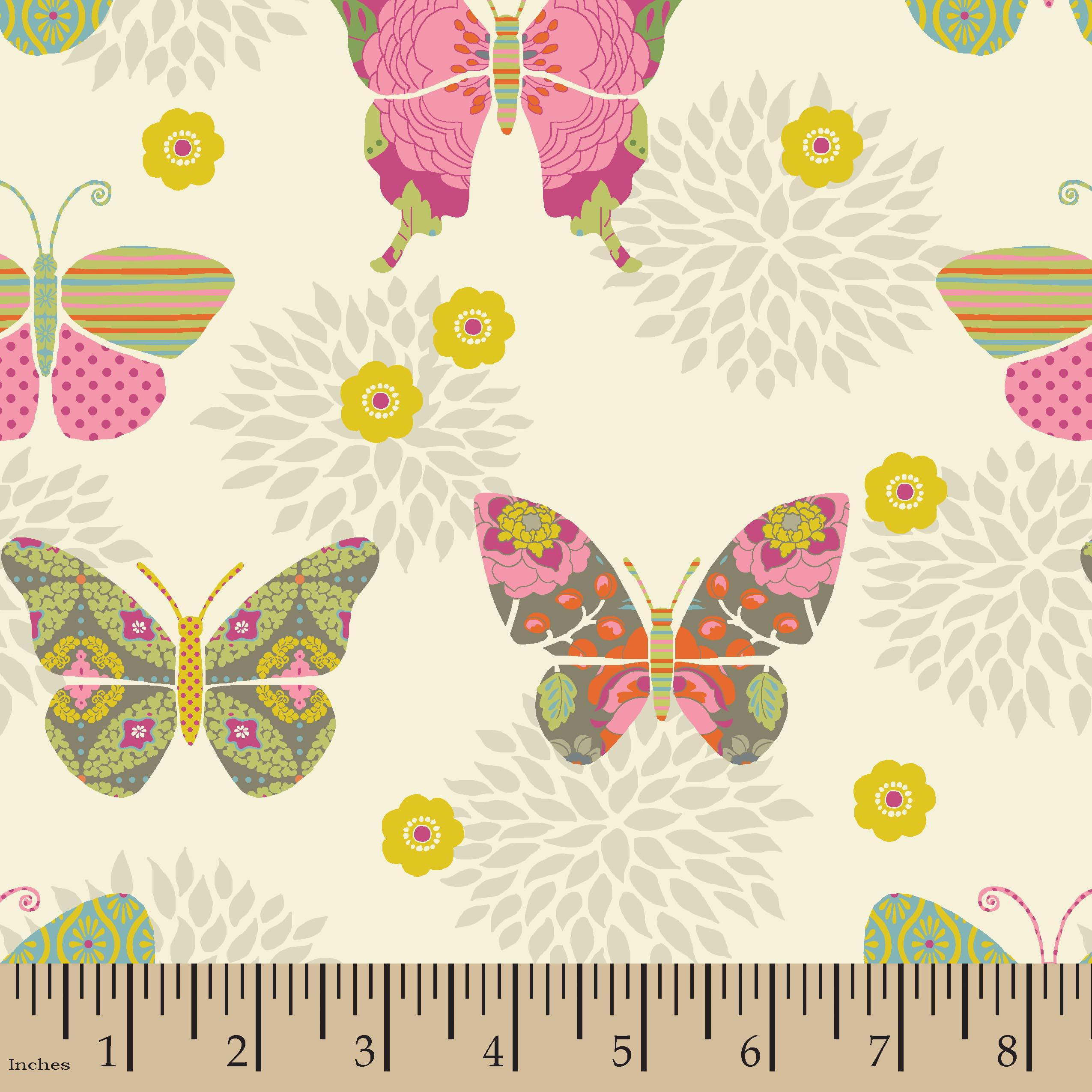 Bohemian Garden Butterflies Fabric by the Yard