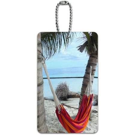 Tropical Beach Hammock Palm Trees Ocean ID Tag Luggage Card for Suitcase or Carry-On