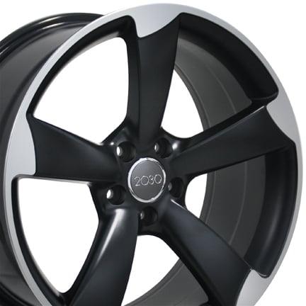 19 Inch S4 Style Wheel | Fits Volkswagen CC Beetle Audi A3 A8 A4 A5 A6 TT |  AU29 Satin Black Machined 19x8.5 Rim | Hollander