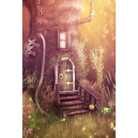 GreenDecor Polyster 5x7ft Fairy Boot Cabin Backdrop For Photography Dreamy Forest Hut Vines Flower Grass Pumpkin Halloween Background Photo Studio Props Kid Baby Girl Boy Artistic Portrait
