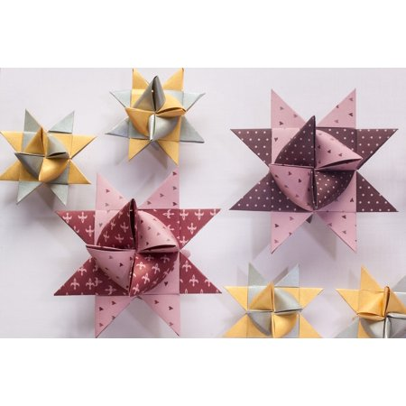 laminated poster art of paper folding origami 3 dimensional fold