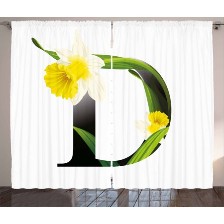 Letter D Curtains 2 Panels Set Black Silhouette Entangled With Growing Daffodils Artistic