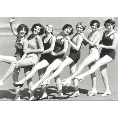 Graphique de France Chorus Line of 30's Style Bathing Suits Funny / Humorous Birthday Card (3x8 Expansion Card)