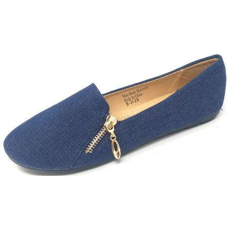 Women Ballet Flats Denim w/ Zipper Decor, Classic Ballerina Slip-On Slipper Shoes Denim Leather Flats
