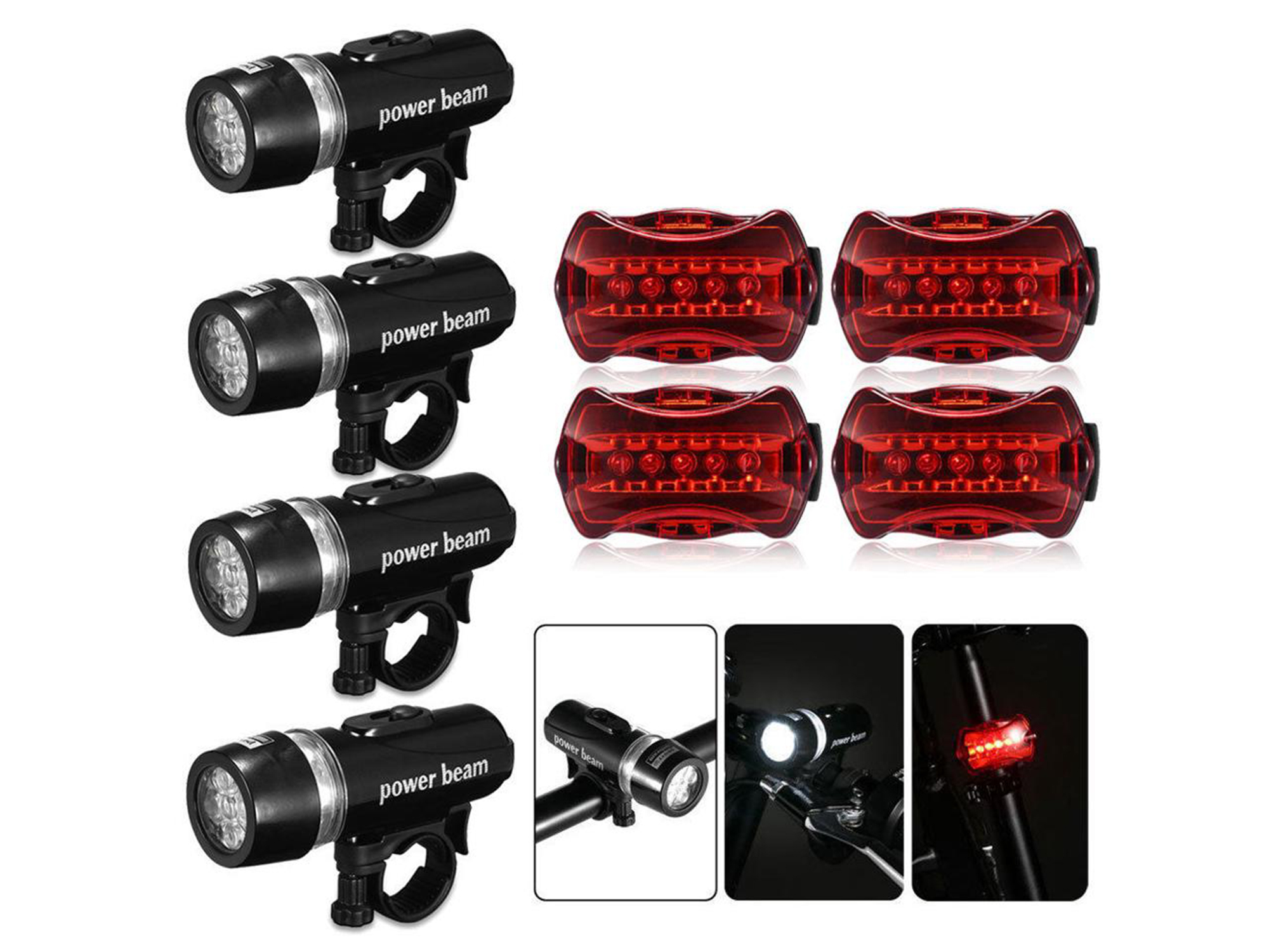 Front Head FLASHLIGHT Waterproof Lamp Bike Bicycle Light 5 LED Rear Safety