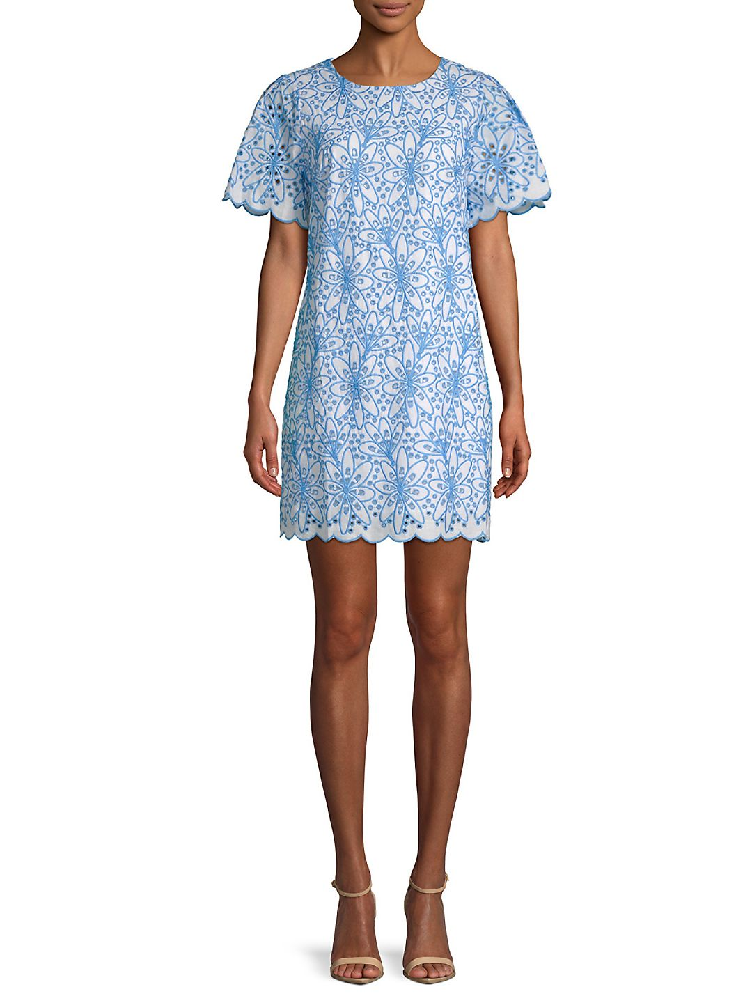 Embroidered Eyelet Cotton Shift Dress