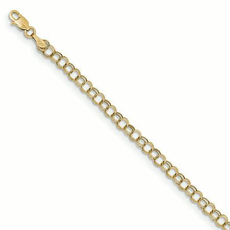 "10K Yellow Gold Hollow 4 MM Double Charm Bracelet, 7"""