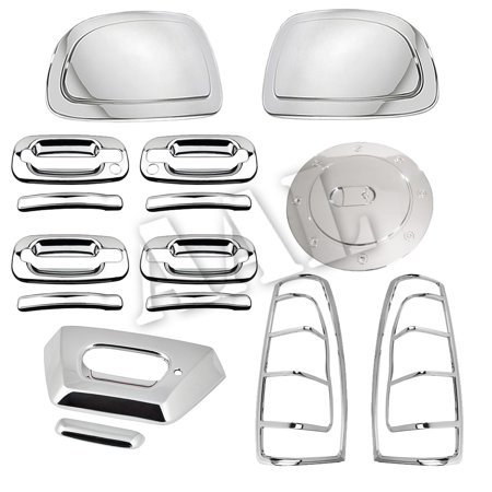 AAL Premium Chrome Cover Combo For 2002 2003 2004 2005 2006 Chevy Avalanche Mirror C Door Handles Tailgate tail light Gas