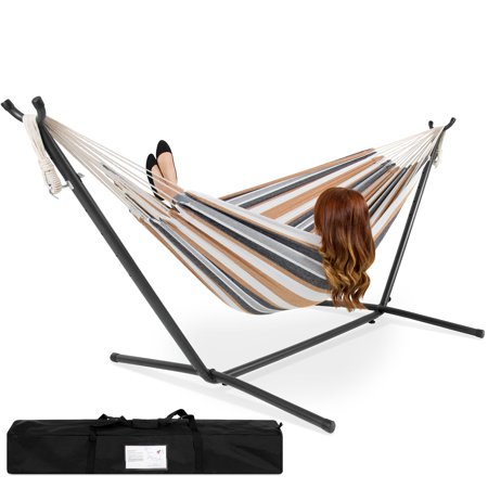 Best Choice Products Double Hammock Set w/ Accessories - Gray Stripe
