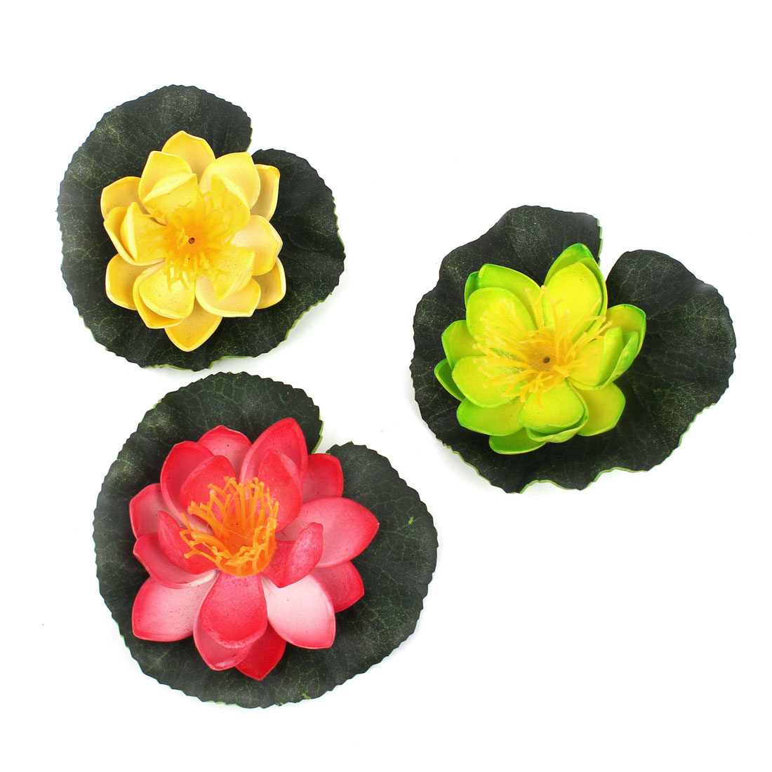 3pcs Simulation Foam Lotus Flowers Water Floating Plants Red Yellow Green